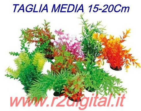 PIANTINA ARTIFICIALE 5Pz ACQUARIO 15-20cm MEDIA PIANTA PLASTIC